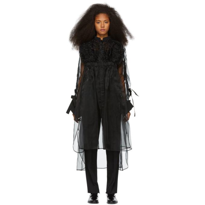 Chika Kisada Robe en tulle de soie noire Voluminous Sleeve