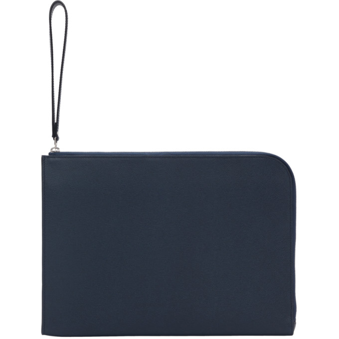 Valextra Navy Leather Portfolio