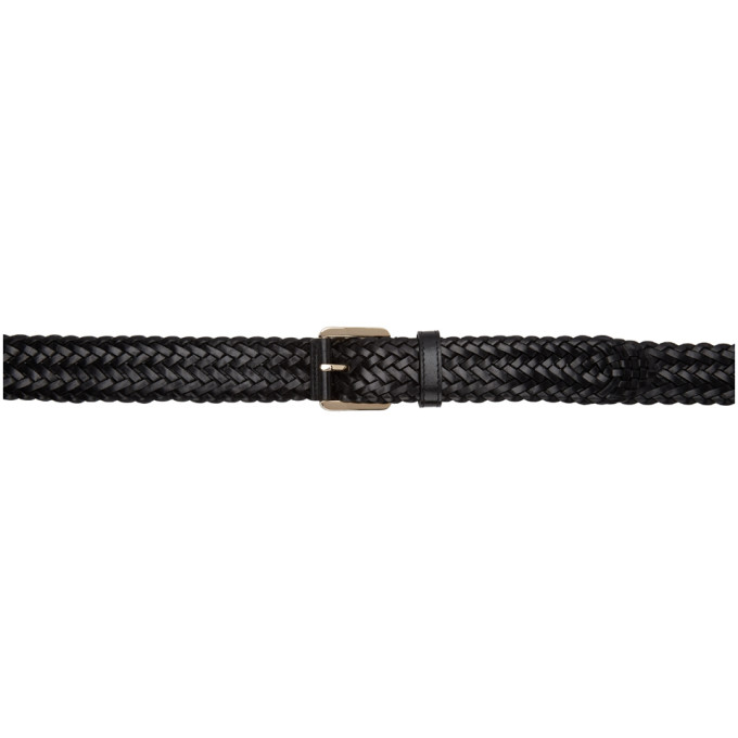 Image of Brioni Black Woven Leather Belt