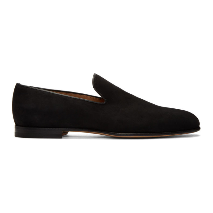 Image of Brioni Black Suede Footglove Loafers