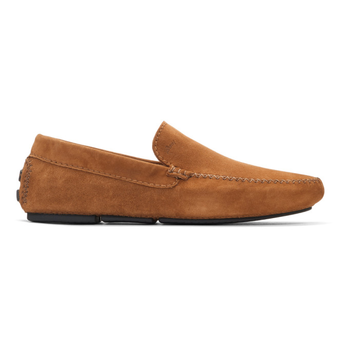 Brioni Tan Suede Driver Loafers