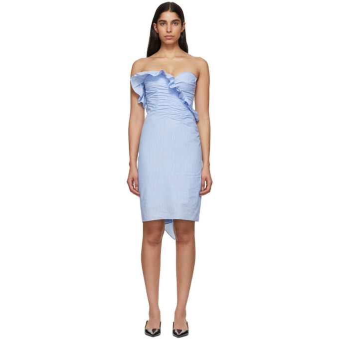 Alexa Chung ALEXACHUNG BLUE RUCHED DRESS