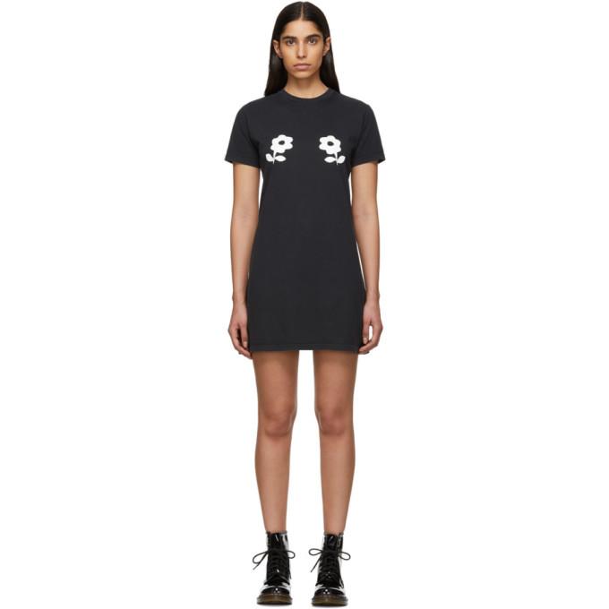 Image of Alexachung Black Double Daisy T-Shirt Dress