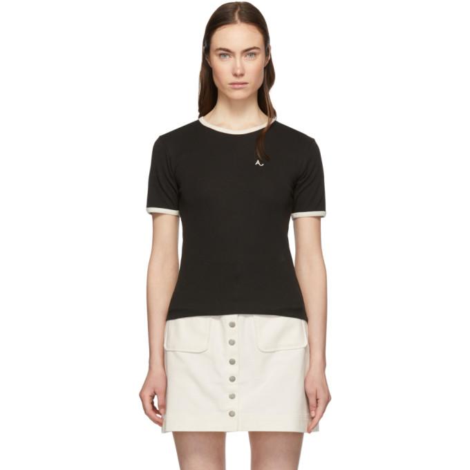 Image of Alexachung Black Jersey Ringer T-Shirt