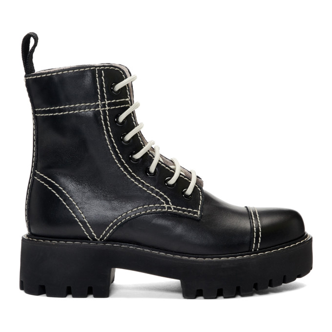 Alexachung Black Leather Military Boots