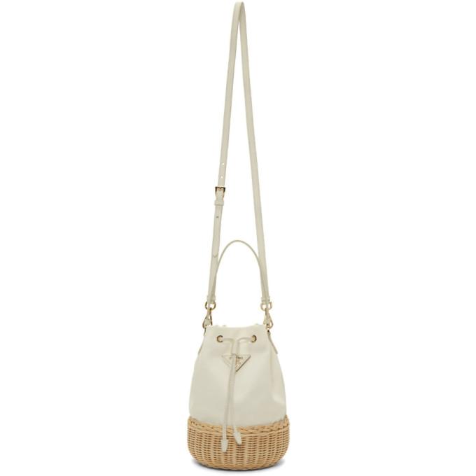 Prada White Raffia Bucket Bag