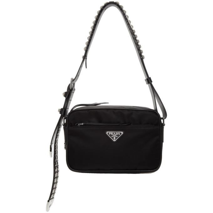 25d05ff40c84 Prada Black Studded Nylon Bag