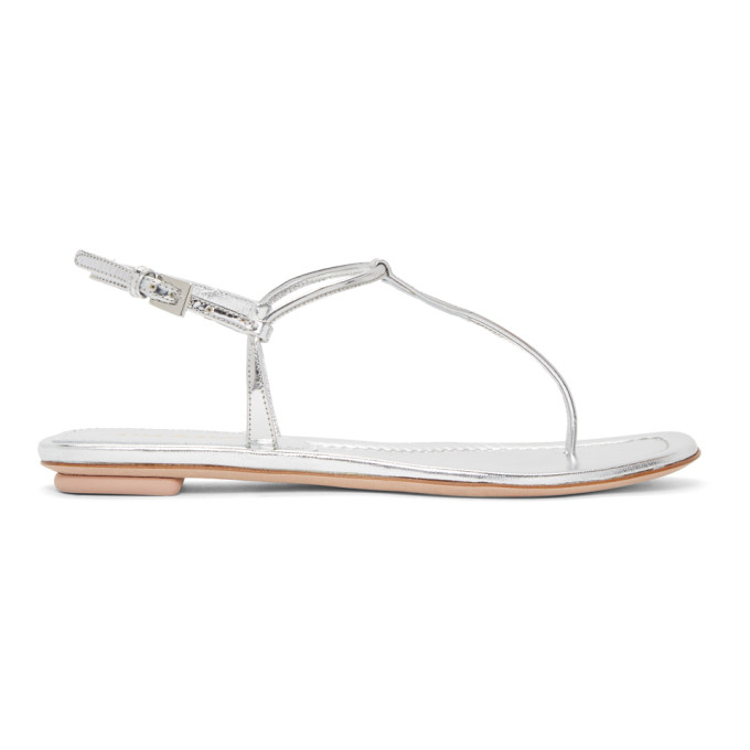 a0f1a2135 Prada Flat Patent Leather Thong Sandals In F0118 Silve