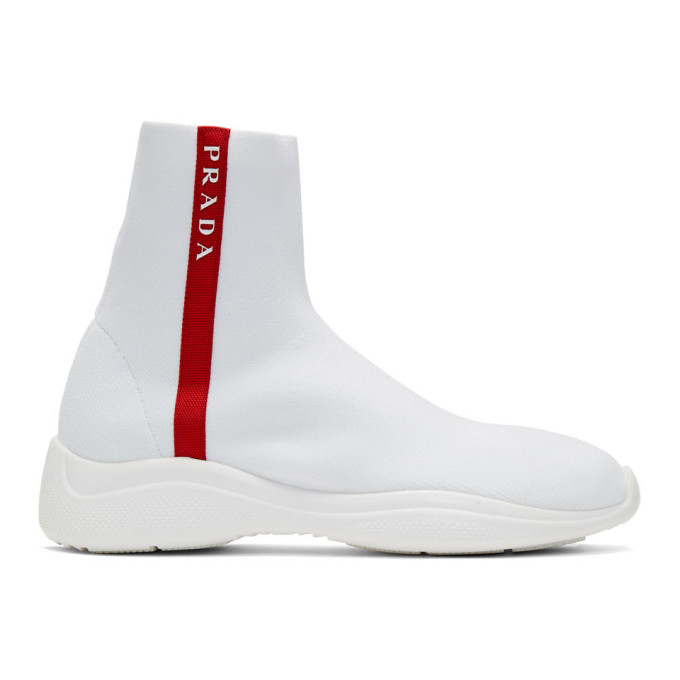 Prada White Knit High-Top Sneakers