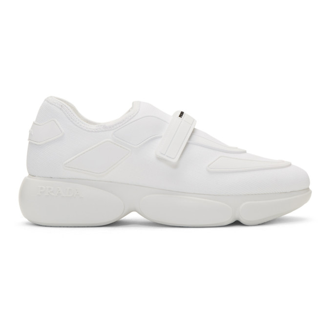 Prada White Tonal Sock Cloudbust Sneakers
