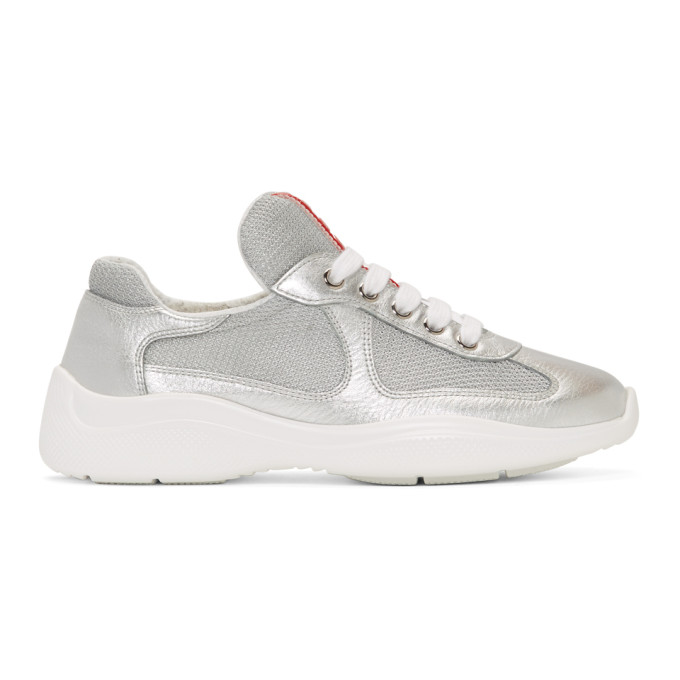 Prada Silver and White Leather and Mesh Sneakers