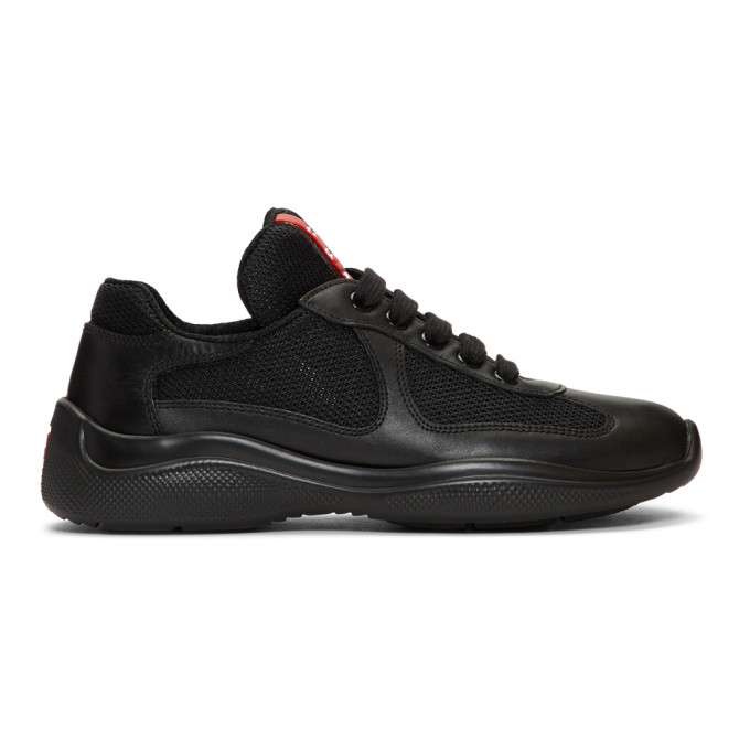 Prada Black Leather and Mesh Lace-Up Sneakers