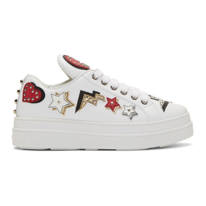 d40282d69079 Prada Heart Patches Leather Lace-Up Platform Sneakers, White ...