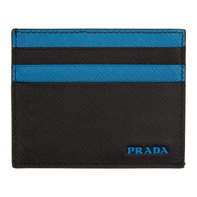 Prada ブラック and ブルー ロゴ カード ホルダー