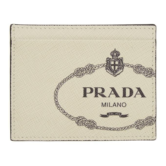 Prada オフホワイト サフィアーノ ロゴ プリント カード ホルダー