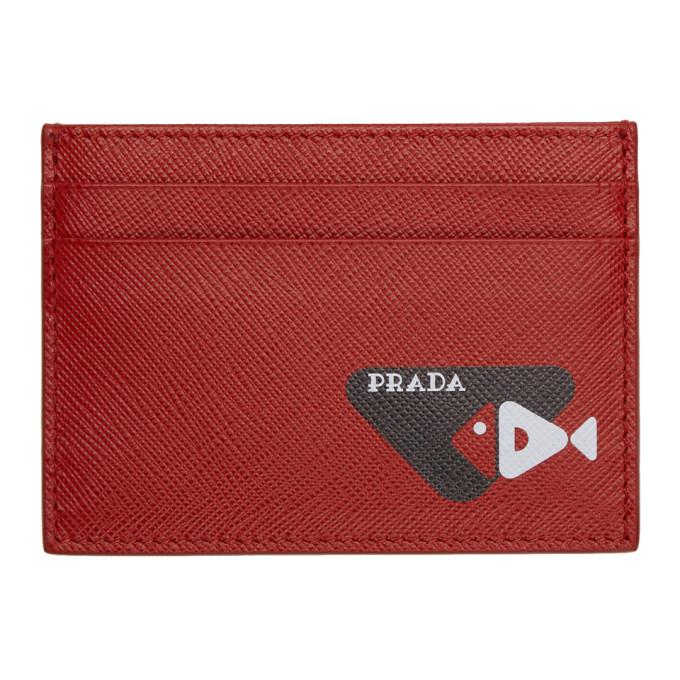 Prada レッド サフィアーノ フィッシュ カード ホルダー