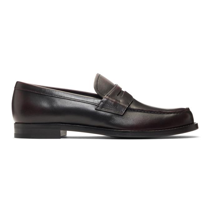 Prada Burgundy Leather Bristol Loafers