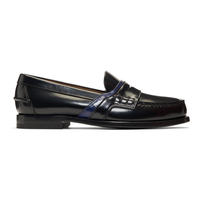 Prada Black and Blue Leather Logo Loafers