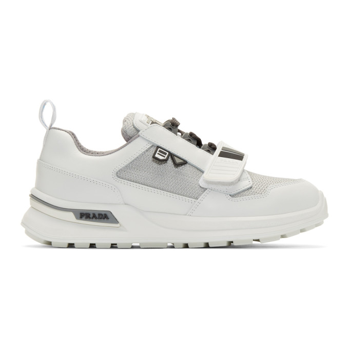 Prada White & Silver Mechano Sneakers