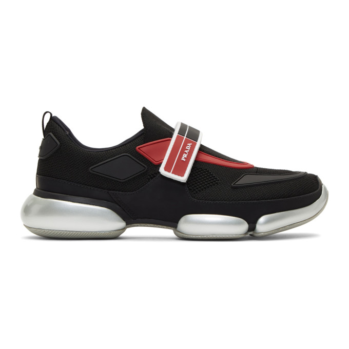 Prada Black & Red Knit Cloudbust Sneakers
