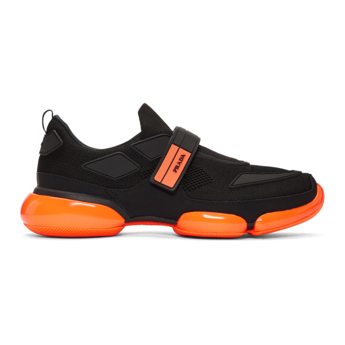 Prada Black & Orange Cloudbust Sneakers