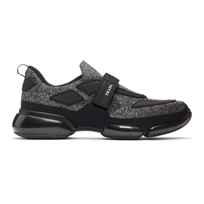 Prada Black & Silver Metallic Cloudbust Sneakers
