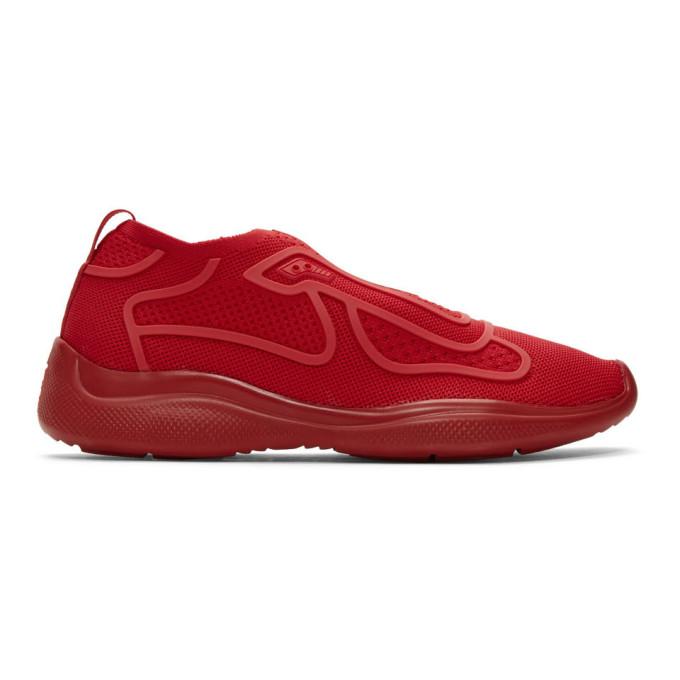 Prada Red Sport Knit 10 Sneakers