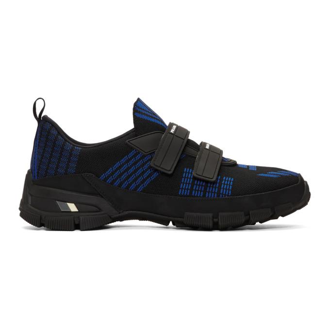 Prada Black & Blue Crossection Sneakers