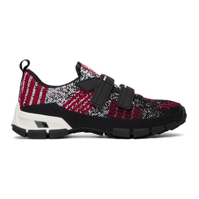 Prada Black & Red Crossection Sneakers