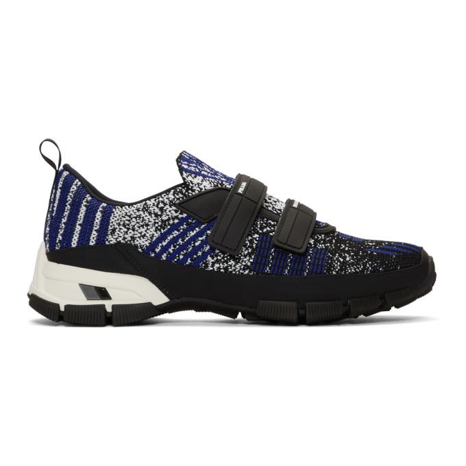 Prada Black & Indigo Crossection Sneakers