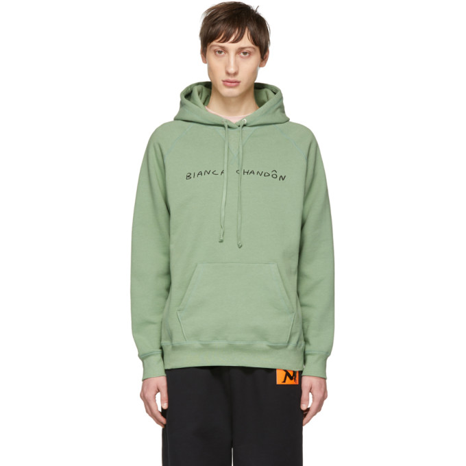 Image of Bianca Chandon Green Handwritten Logotype Hoodie