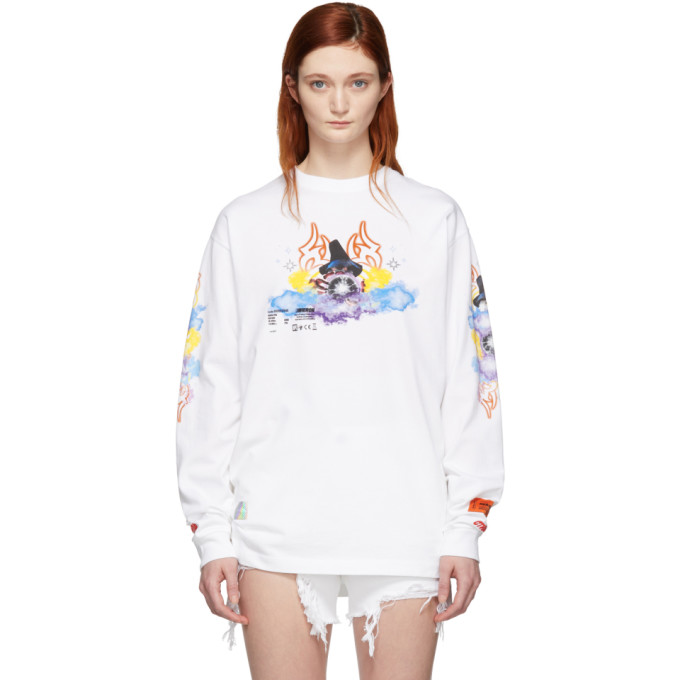 Heron Preston T-shirts HERON PRESTON WHITE TRIBAL WIZARD LONG SLEEVE T-SHIRT