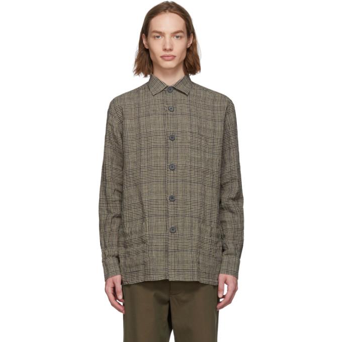 Image of Schnayderman's Beige & Blue Check Linen Over Shirt