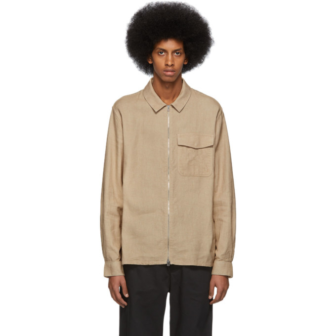 Image of Schnayderman's Beige Zipshirt Structure Jacket