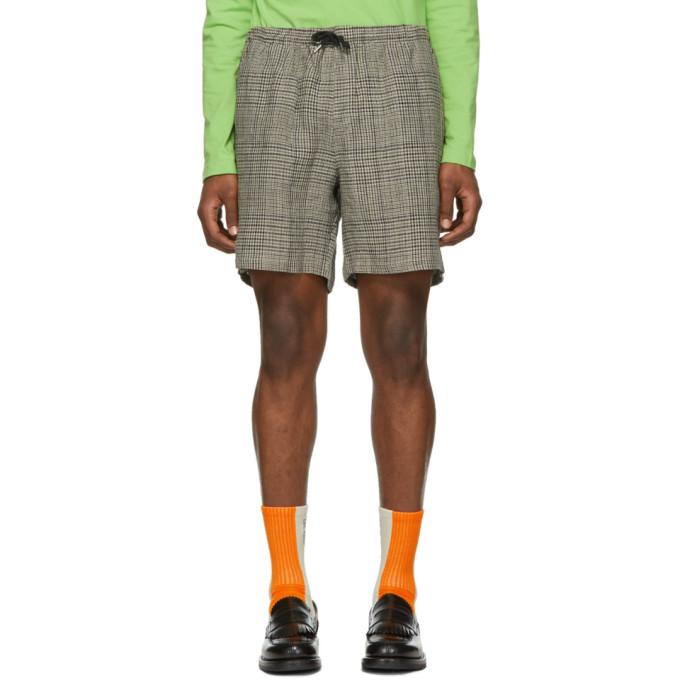 Image of Schnayderman's Blue & Beige Linen Shorts