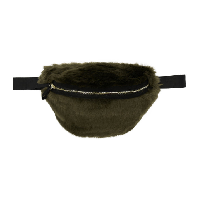 LANDLORD Landlord Green Faux-Fur Belt Pouch in Olive