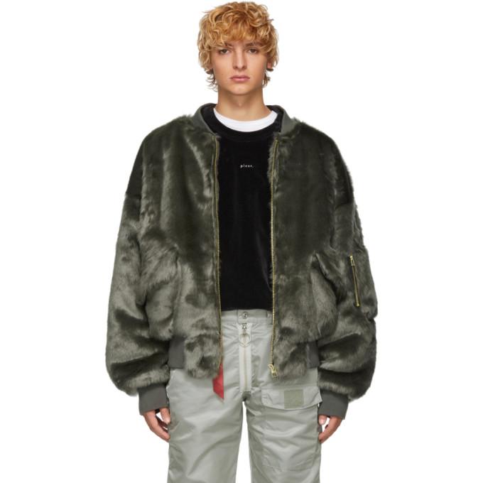 LANDLORD Landlord Grey Faux-Fur Bomber Jacket
