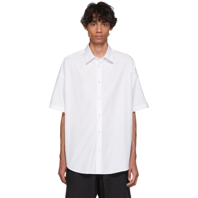 N.Hoolywood Chemise a manches courtes en popeline blanche