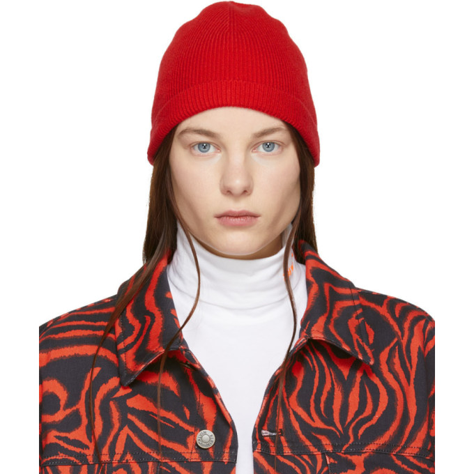 Image of Calvin Klein 205W39NYC Red Ribbed Beanie