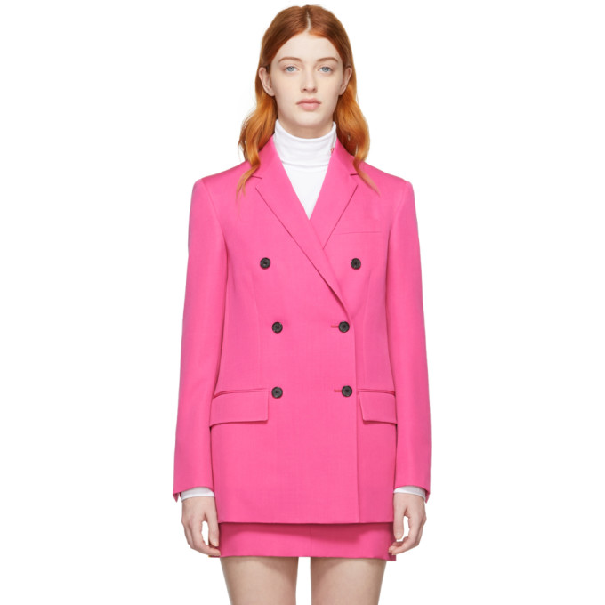 Image of Calvin Klein 205W39NYC Pink Wool Double-Breasted Blazer