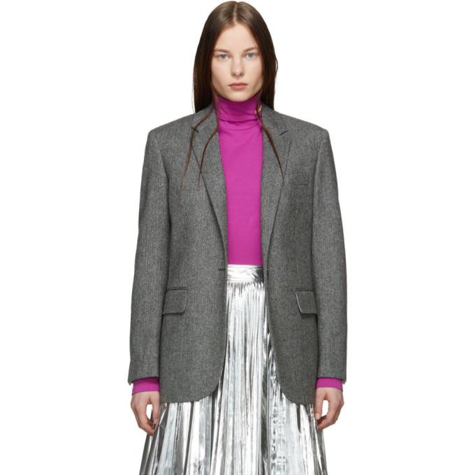 Image of Calvin Klein 205W39NYC Black and Grey Chevron Wool Blazer