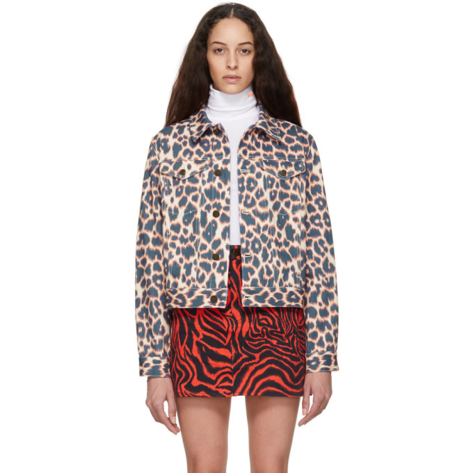 Image of Calvin Klein 205W39NYC Pink and Navy Leopard Denim Jacket