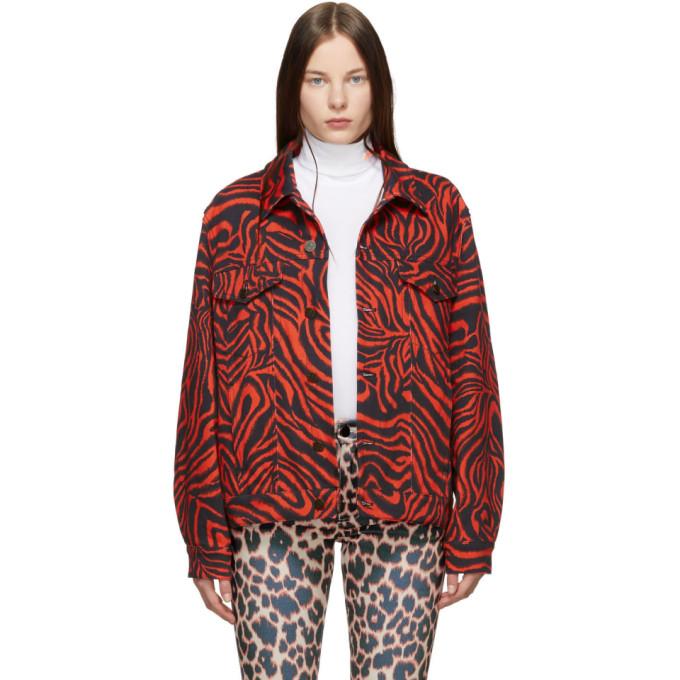 Image of Calvin Klein 205W39NYC Red Zebra Denim Jacket
