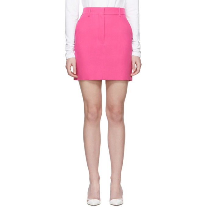 Image of Calvin Klein 205W39NYC Pink Stripe Uniform Miniskirt