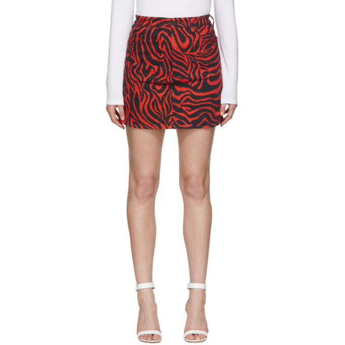 Image of Calvin Klein 205W39NYC Black and Red Denim Zebra Skirt