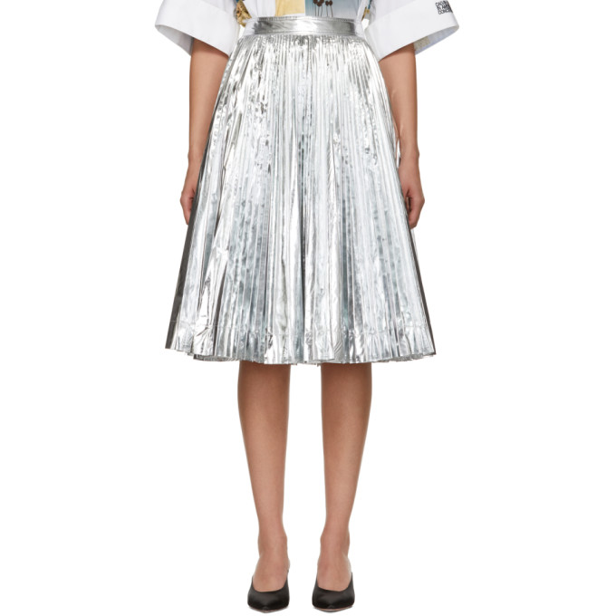 Calvin Klein 205W39NYC Silver Pleated Skirt