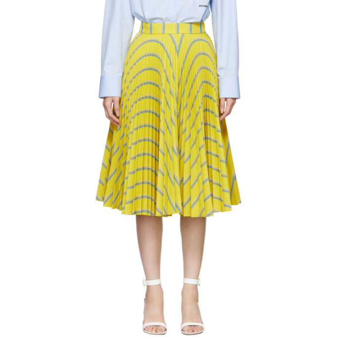 Image of Calvin Klein 205W39NYC Yellow Soleil Pleated Skirt