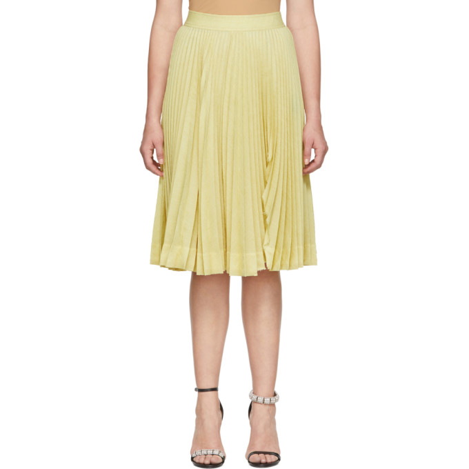 Image of Calvin Klein 205W39NYC Yellow Pleated Rip Skirt