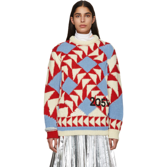 Image of Calvin Klein 205W39NYC Off-White and Red Intarsia Jacquard Sweater