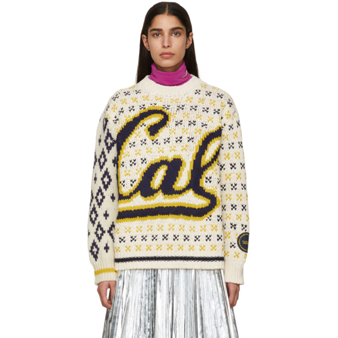 Image of Calvin Klein 205W39NYC Off-White and Navy Berkeley Edition University Sweater